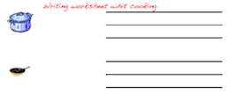 Handwriting worksheets with cooking.