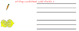 Handwriting worksheet with fruits.