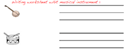 Handwriting worksheet with musical instruments.
