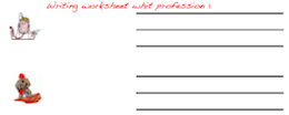 Handwriting worksheet with professions
