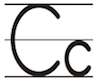 Learn to write printed letter C c