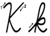 Learn to write cursive letter K k