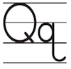 Learn to write printed letter Q q