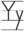 Learn to write printed letter Y y